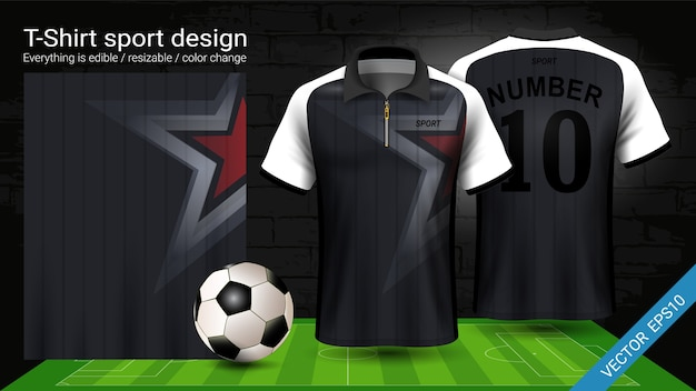 T-shirt sport, black and white jersey template.