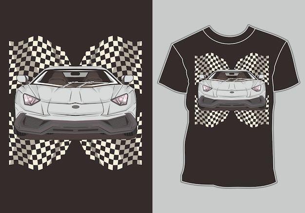T shirt  sport car racing with flag