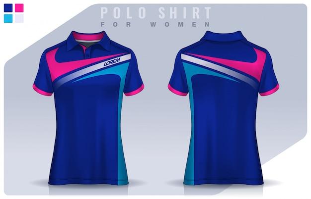 女性のためのtシャツスポーツデザイン、サッカークラブのためのサッカージャージ。ポロのユニフォームテンプレート。
