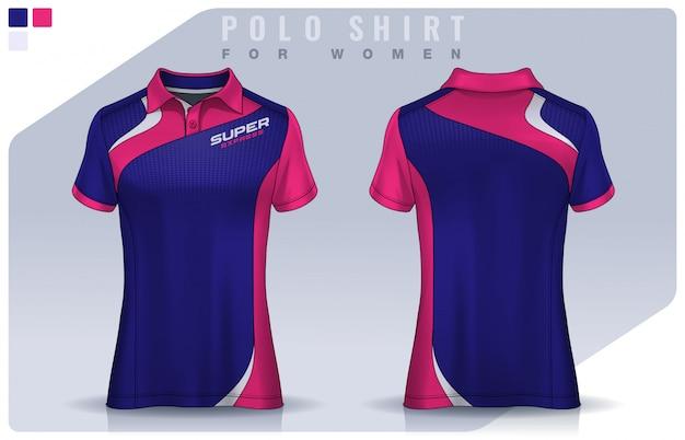 女性のためのtシャツスポーツデザイン、サッカークラブのためのサッカージャージーモックアップ。ポロのユニフォームテンプレート。