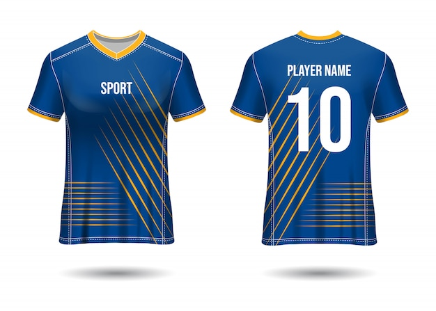 T-shirt sport design. soccer jersey  for football club. uniform front and back view.