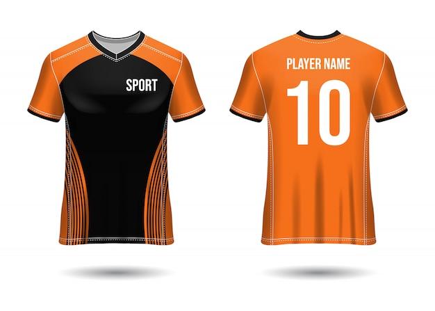 Футболка спортивного дизайна. футболка для футбольного клуба. единый вид спереди и сзади.