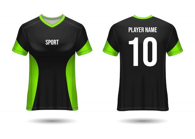 Футболка спортивного дизайна. макет футболки для футбольного клуба. единый вид спереди и сзади. дизайн шаблона. шаблон джерси реалистичный