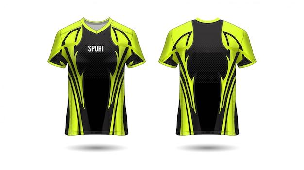Tシャツスポーツデザイン。サッカークラブのサッカージャージーモックアップ。均一な正面図と背面図。テンプレートデザイン。現実的なテンプレートジャージ