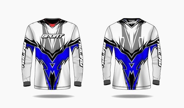 Шаблон спортивного дизайна футболки, шаблон с длинным рукавом, униформа спереди и сзади.