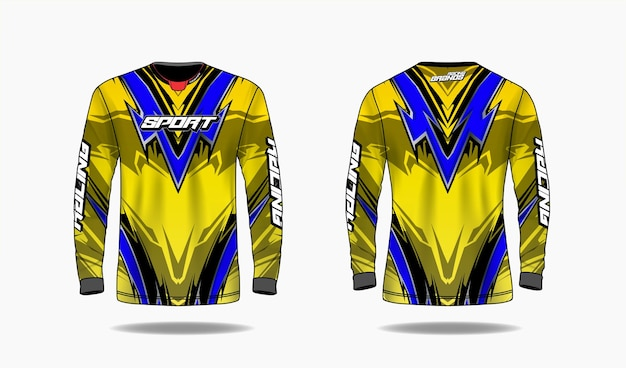 T-shirt sport design template, long sleeve template uniform front and back view.