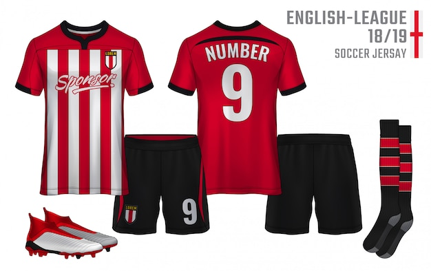 T-shirt sport design template, soccer jersey for football club. uniform front and back view.