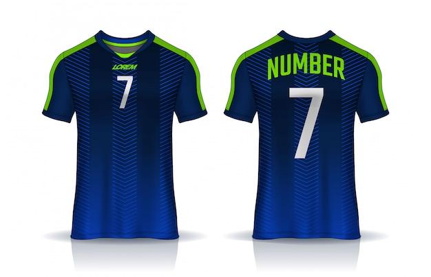 Шаблон спортивного дизайна футболки, макет футболки для футбольного клуба. единый вид спереди и сзади.