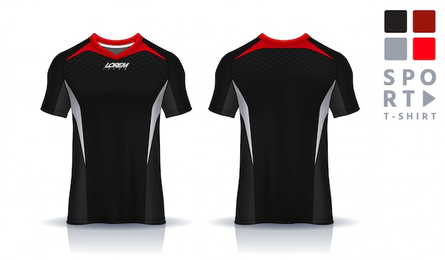 T-shirt sport design template, uniform front and back view.