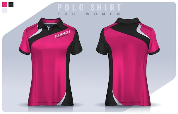 T-shirt sport design for women, soccer jersey  for football club.  polo uniform template.