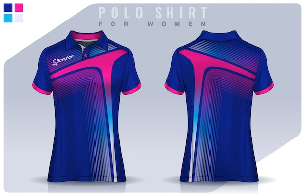 T-shirt sport design for women, soccer jersey mockup for football club.  polo uniform template.