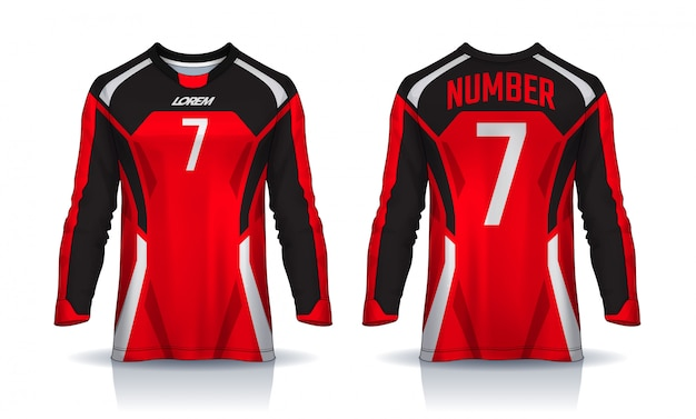 T-shirt sport  template, long sleeve soccer jersey