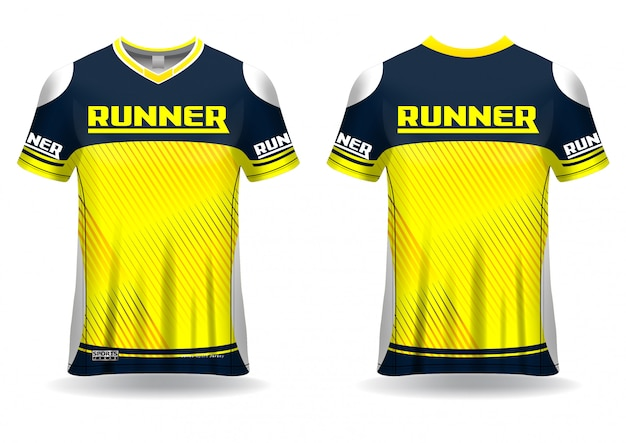 T-shirt sport  template  for running jersey, sport uniform in front view and back view