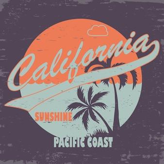 Tシャツスタンプグラフィックデザイン。カリフォルニアのスポーツウェア、アートワークのタイポグラフィのエンブレム。クリエイティブデザイン。