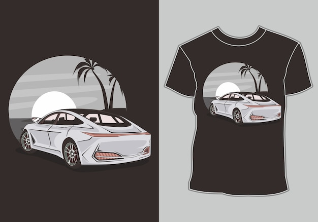 T shirt  summer,retro vintage car in beach