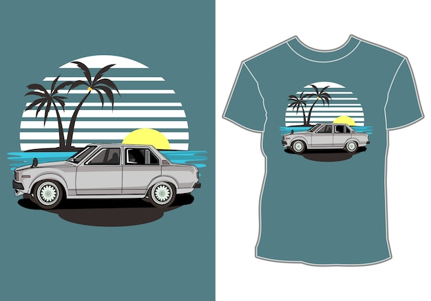 T shirt  summer,retro vintage car in beach