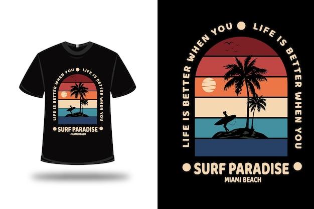 Tシャツサーフパラダイスマイアミビーチカラーレッドイエローとブルー