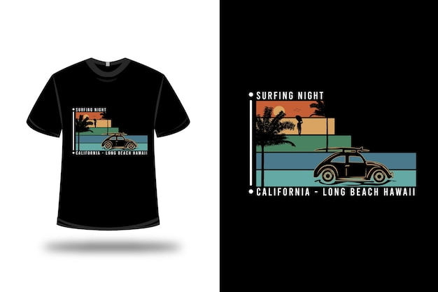 티셔츠 서핑 나이트 캘리포니아 롱 비치 컬러 오렌지 그린과 블루