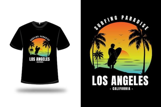 Tシャツサーフィンパラダイスカリフォルニアカラーイエローオレンジとブルー