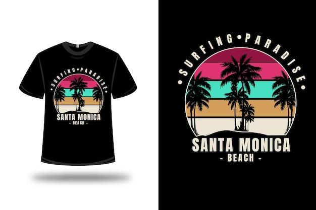 Tシャツサーフィンパラダイスサンタモニカビーチカラーレッドグリーンとクリーム