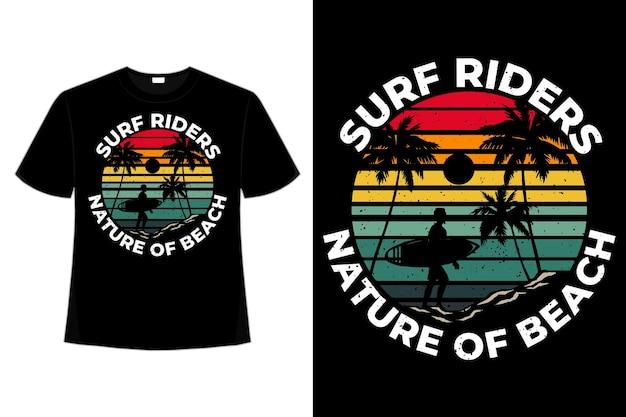 T-shirt surfing rides nature beach palm style retro vintage hand drawn illustration