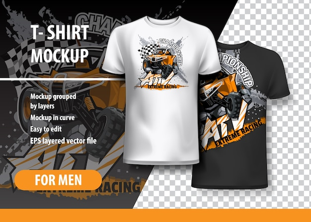 T-shirt template, fully editable with atv off-road
