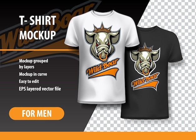 T-shirt template, fully editable with wild boar team logo.
