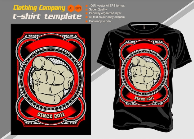 T shirt template human hand with the finger pointing or gesturing vector