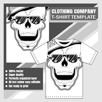 T-shirt template, skull hand drawing