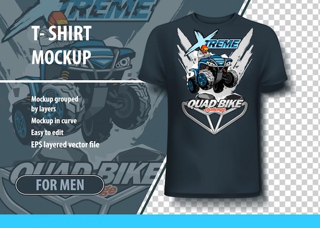 T-shirt template with atv quad bike challenge.
