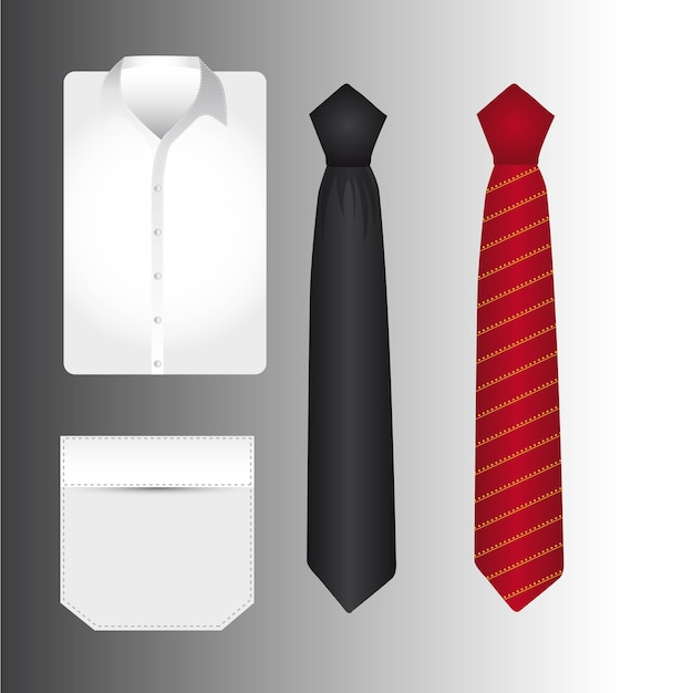 T shirt an tie over gray background vector illustration