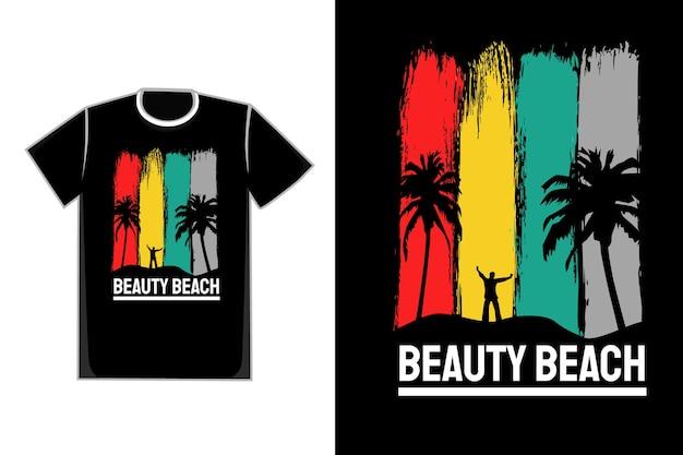 Tシャツタイトルビューティービーチカラーレッドイエローグリーンとグレー