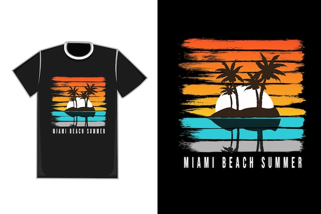 T-shirt title miami beach summer color orange white blue gray and yellow