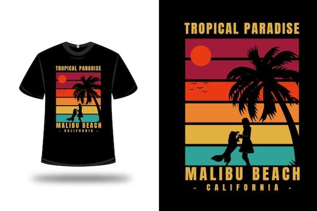 티셔츠 트로피컬 파라다이스 말리부 비치 캘리포니아 색상 녹색 노란색과 빨간색