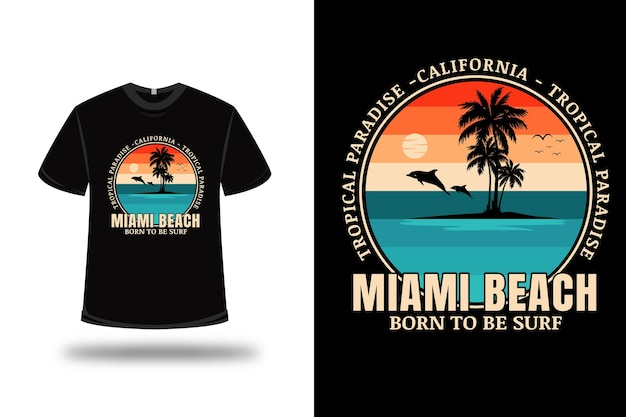 Tシャツトロピカルパラダイスマイアミビーチカラーグリーンクリームとオレンジ