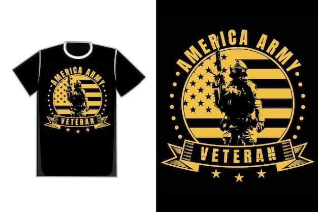 Футболка типография америка армия ветеран винтажный стиль