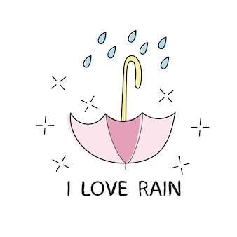 T shirt typography graphic with quote i love rain. fashion print for wear. template for apparel, card, poster. design element. symbol of umbrella. vector illustration