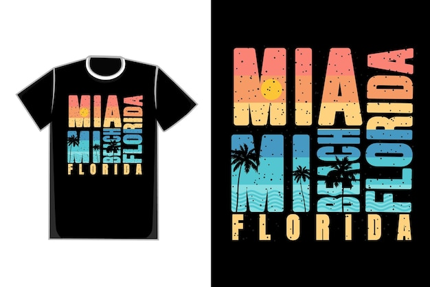 티셔츠 타이포그래피 마이애미 비치 플로리다 일몰 스타일 복고풍