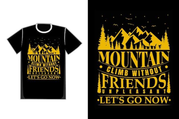Tシャツタイポグラフィ登山松の木ヴィンテージスタイル