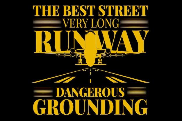 T-shirt typography runway plane grounding vintage style