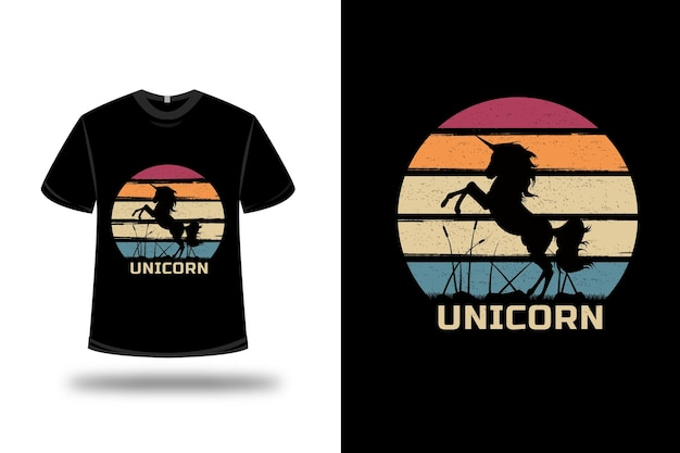 T-shirt unicorn on red orange and green