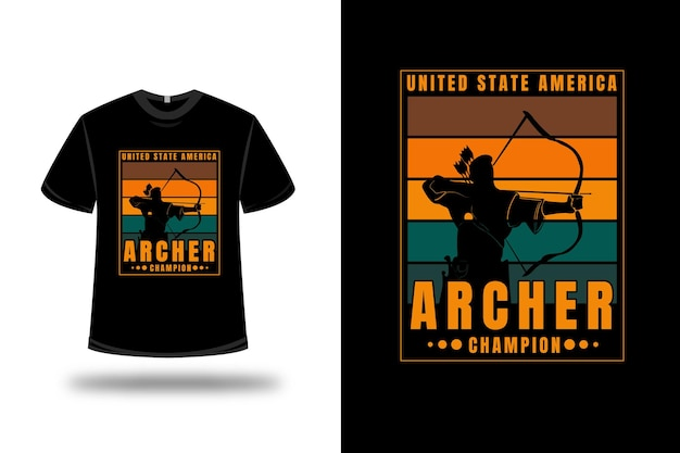 T-shirt united state america archer champion color orange and green