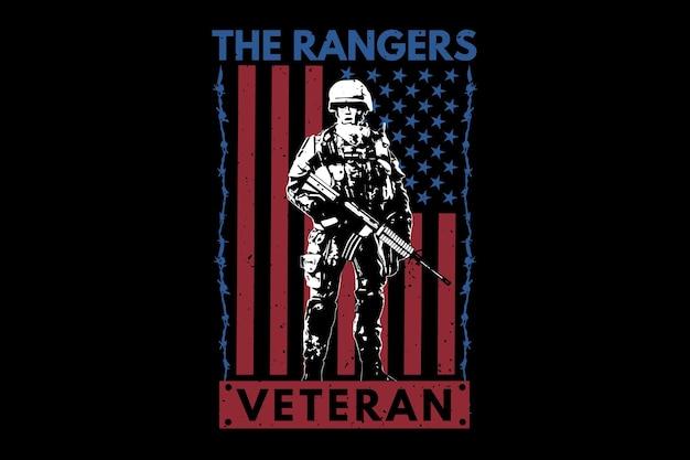 T-셔츠 베테랑 레인저스 플래그 미국 타이포그래피 빈티지 그림