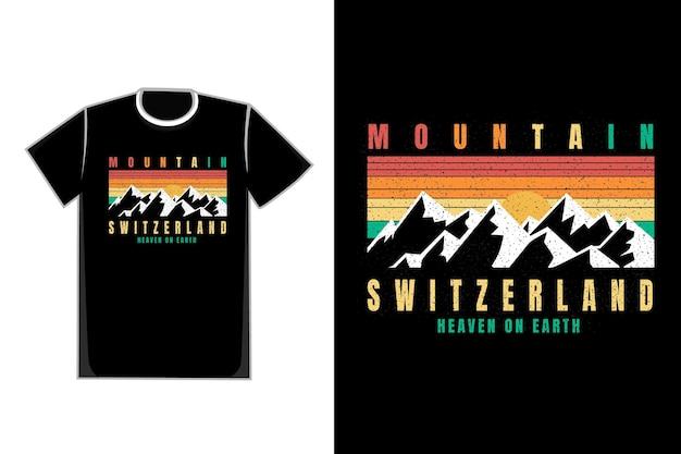 Tシャツ白い山スイス天国地球上