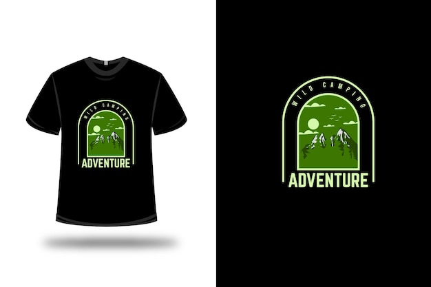 T-shirt wild camping adventure color green