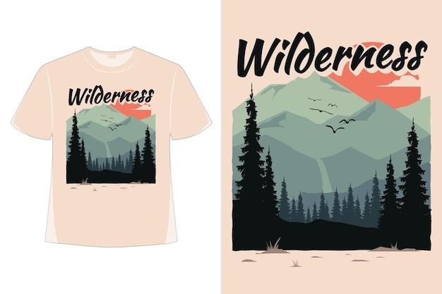 T-셔츠 황야 소나무 산 평면 자연 손으로 그린 스타일 빈티지 복고 그림