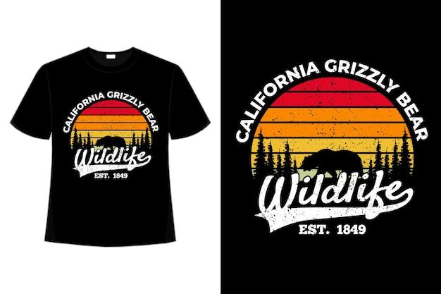 티셔츠 야생 동물 캘리포니아 곰 복고풍 스타일