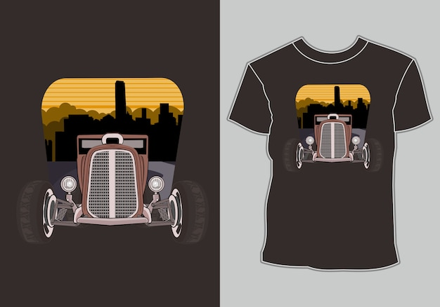 T shirt with artwork classic,vintage,retro car in city