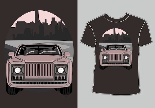 Футболка с рисунком классика, винтаж, ретро автомобиль в городе