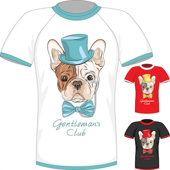 T-shirt with french bulldog dog gentleman